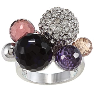 City Style Silvertone Multi-colored Crystal and CZ Berry Bubble Ring