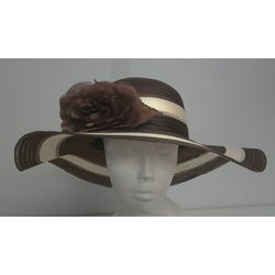 Swan Women's Brown/ Ivory Striped Crinoline Floppy Hat