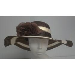 Swan Women's Brown/ Ivory Striped Crinoline Floppy Hat