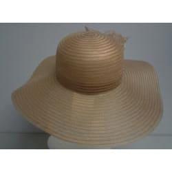 Swan Women's Tan Crinoline Flower-topped Floppy Hat