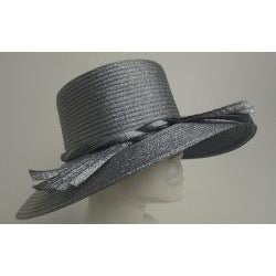 Swan Women's Metallic Navy Ribbon Floppy Hat