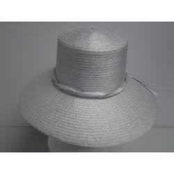 Swan Women's Metallic Silver Ribbon Floppy Hat