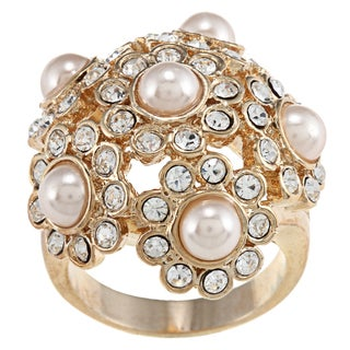Gold Faux-pearl and Cream Cubic Zirconia Crystal Cluster Ring