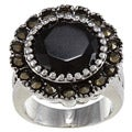 Marcasite and Round Jet-stone Crystal High-polish Silvertone Ring