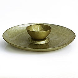 Notions by Jay Glitter Champagne Chip n' Dip Plate