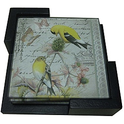 Notions by Jay Golden Finch Coaster Set with Caddy (Set of 4)