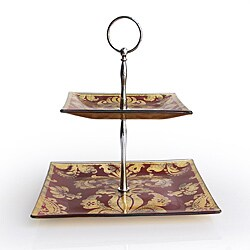 Notions by Jay Red & Gold Fleur De Lis 2 Tier Server