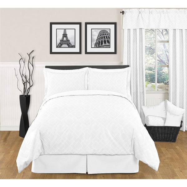 Sweet JoJo Designs White Diamond 3-piece King-size Bedding Set