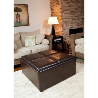 Franklin Coffee Table Brown Faux Leather Storage Ottoman with 4 Serving Trays