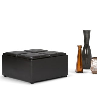 WYNDENHALL Franklin Coffee Table Brown Faux Leather Storage Ottoman with 4 Serving Trays