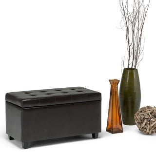 Essex Medium Rectangular Brown Faux Leather Storage Ottoman Bench