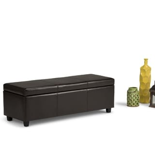 Franklin Large Rectangular Faux Leather Storage Ottoman Bench