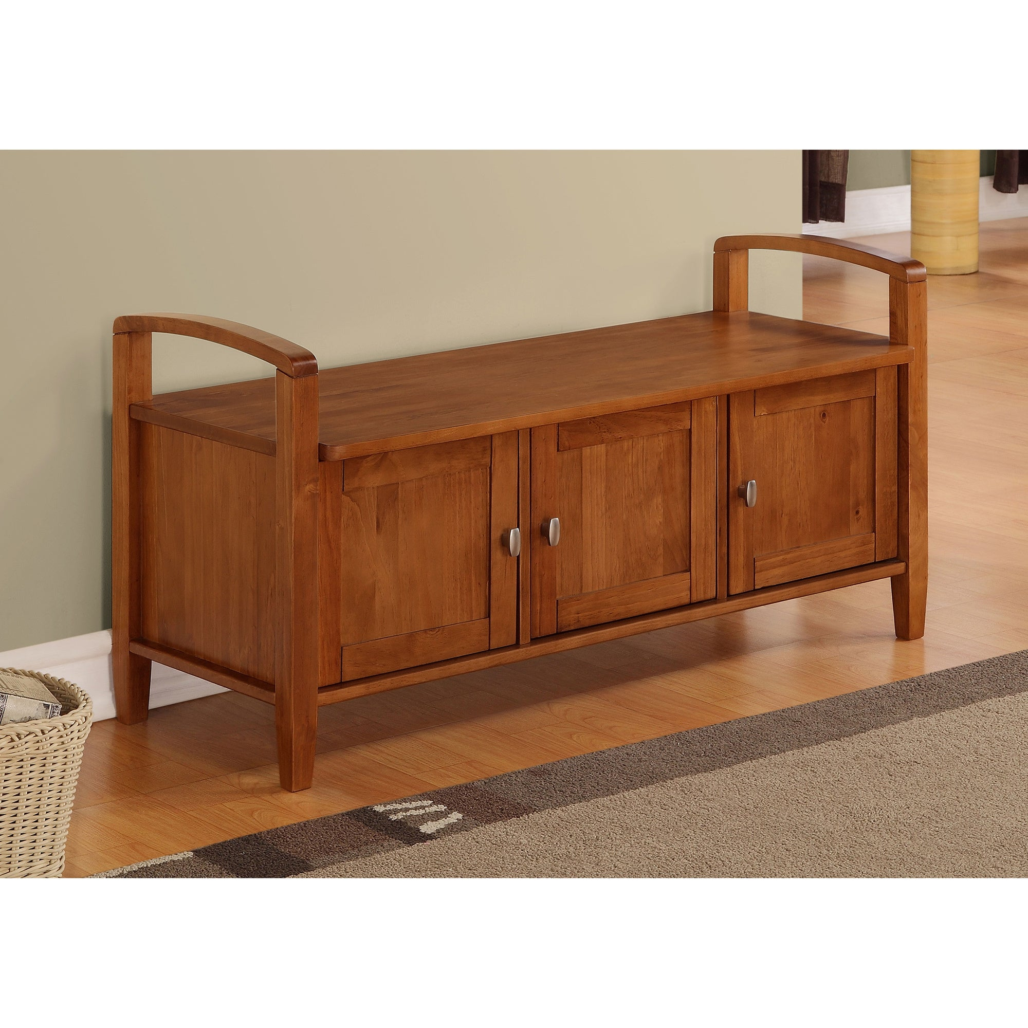 Norfolk Honey Brown Entryway Storage Bench Overstock Shopping Great Deals On Wyndenhall Benches