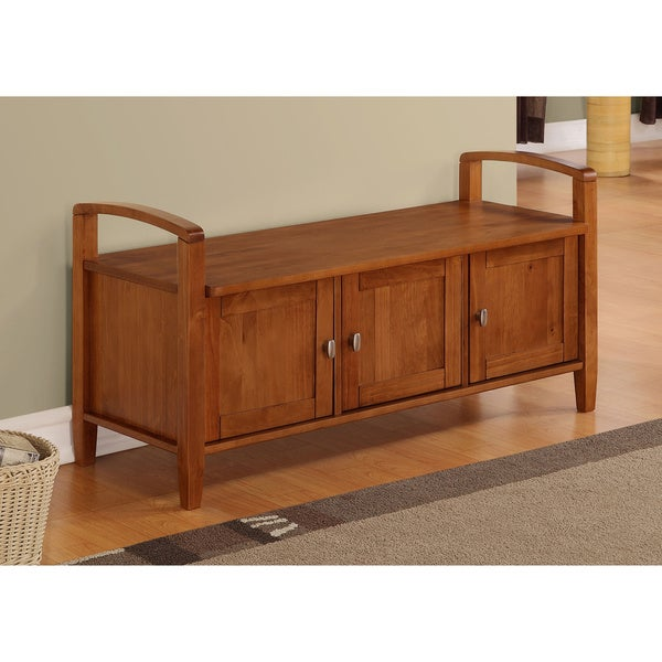 WYNDENHALL Norfolk Honey Brown Entryway Storage Bench