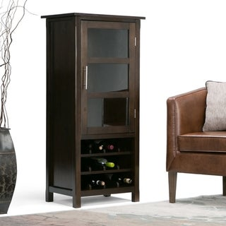 WYNDENHALL Franklin 12-Bottle SOLID WOOD 22 inch Wide Contemporary High Storage Wine Rack Cabinet in Dark Tobacco Brown