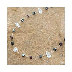 Stainless Steel 'Celestial' Multi-gemstone Necklace (Thailand)