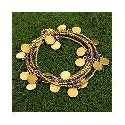Gold Overlay 'Golden Suns' Amethyst Wrap Bracelet (Thailand)