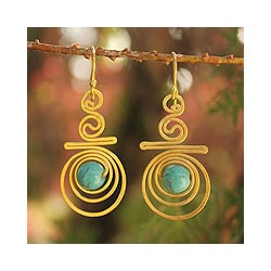 Gold Overlay 'Follow The Dream' Dangle Earrings (Thailand)