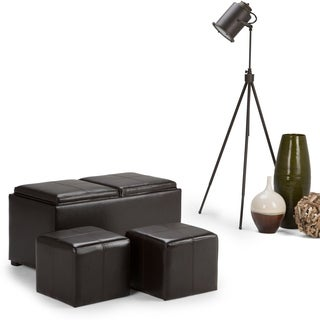 WYNDENHALL Franklin 3-piece Rectangular Brown Faux Leather Storage Ottoman with Serving Trays