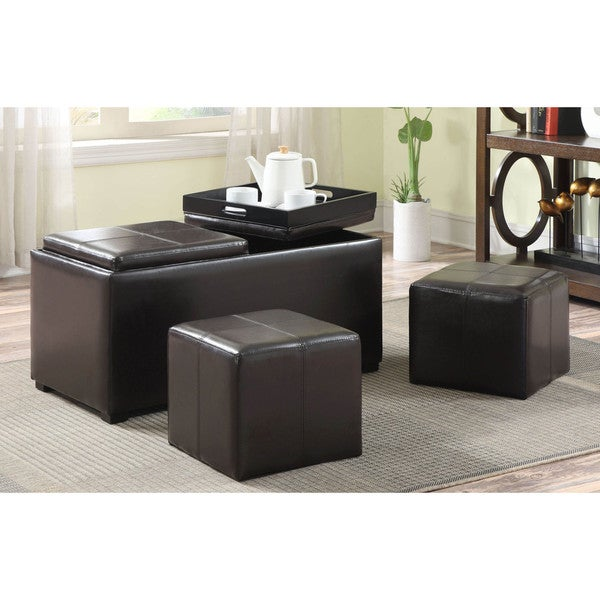 WYNDENHALL Franklin 3 Piece Rectangular Brown Faux Leather Storage Ottoman with 2 Serving Trays