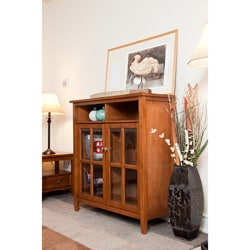 Norfolk Honey Brown Medium Storage Media Cabinet & Buffet