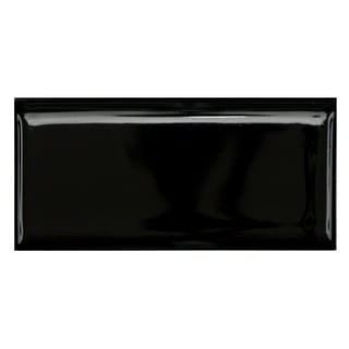 SomerTile 1.75 x 3.75-inch Victorian Glossy Black Porcelain Bullnose Trim Tile (Pack of 12)