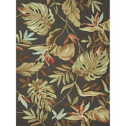 Hand-hooked Freya Dark Brown Rug (7' x 9')