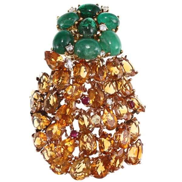 Pre-owned 14k Rose-Gold 62ct Gemstone Pineapple Brooch 9123407