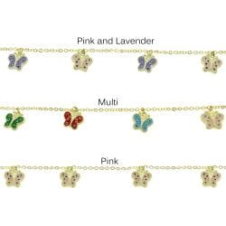 Molly and Emma 18-karat Gold-overlay Enamel Butterflies Charm Bracelet for Children