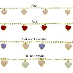 Molly and Emma 18-karat Gold-overlay Enamel Hearts Charm Bracelet