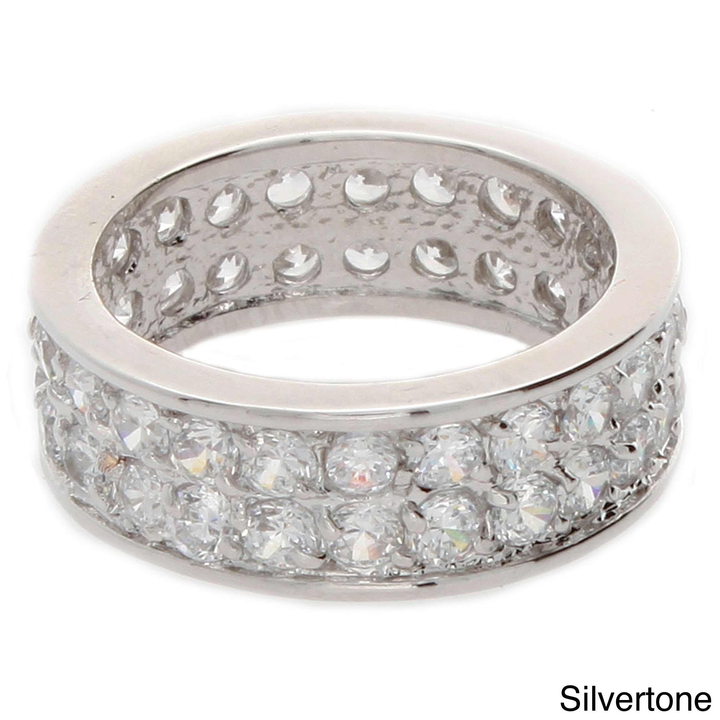 Overstock.com NEXTE Jewelry Silvertone Cubic Zirconia Double Row Eternity Band at Sears.com