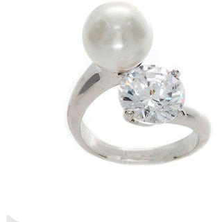 Nexte Jewelry Freshwater Pearl and Cubic Zirconia Loop Ring