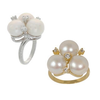 Nexte Jewelry Triple Fresh Water Pearl and CZ Bouquet Ring