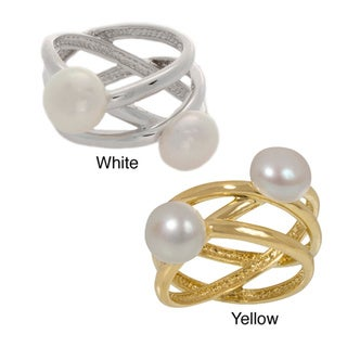 NEXTE Jewelry Double Freshwater Pearl Wire Design Ring (8 mm)
