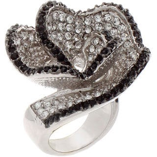 NEXTE Jewelry Silvertone Black and White Rhinestone Flower Ring