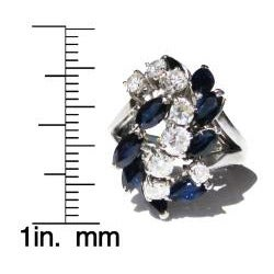 18k White Gold Sapphire and 1 1/10ct TDW Diamond 'Waterfall' Ring (F-G, VS1-VS2)
