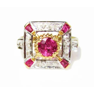 18k Gold Burmese Ruby and 1/6ct TDW Diamond Edwardian Ring (F-G, VS1-VS2)