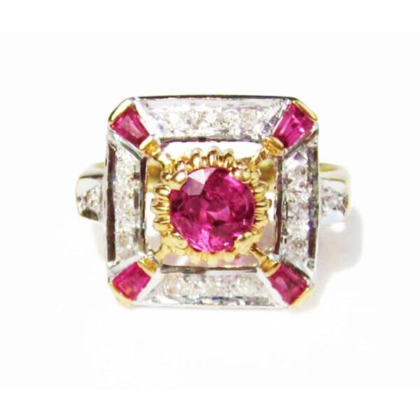 18k Gold Burmese Ruby and 1/6ct TDW Diamond Edwardian Ring (F-G, VS1-VS2)
