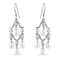 Miadora Sterling Silver FW Pearl and Cubic Zirconia Chandelier Earrings (4-4.5 mm)
