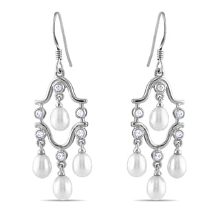 M by Miadora Sterling Silver FW Pearl and Cubic Zirconia Chandelier Earrings (4-4.5 mm)