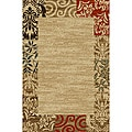 Border Formal Natural Non-skid Runner Rug (1' 8 x 4'11)