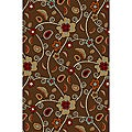 Jewel Floral Brown Non-skid Rug (1' 8 x 4'11)
