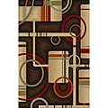 Nylon Metro Contemporary Geometric Black Non-skid Rug (1' 8 x 4'11)