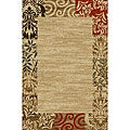 Border Formal Natural Non-skid Rug (5' x 7')