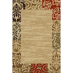 Border Formal Natural Non-skid Rug (3'3 x 5'3)