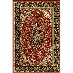Elegant Medallion Red Non-skid Rug (5' x 7')