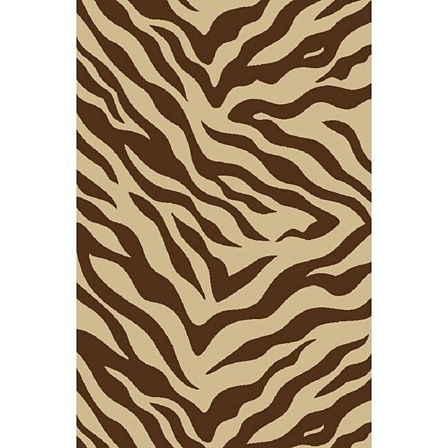 Zebra Brown Non-skid Rug (5' x 7')