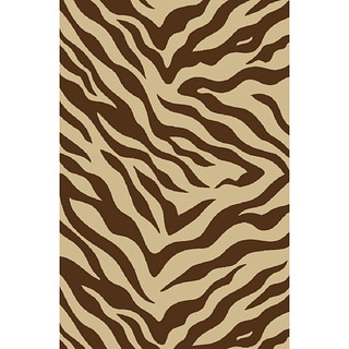Non-skid Brown Zebra Print Area Rug (2' x 3'3)