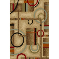 Metro Geometric Natural Non-skid Rug (3'3 x 5'3)