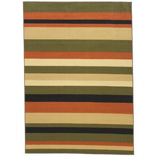 Nylon Green Stripe Area Rug (5' x 7')